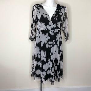 London Times Black and Grey 3/4 Sleeve Dress 14W